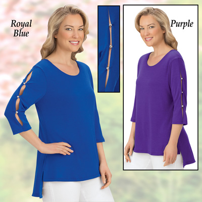 Open Cut-Out 3/4 Sleeve High-Low Tunic Top