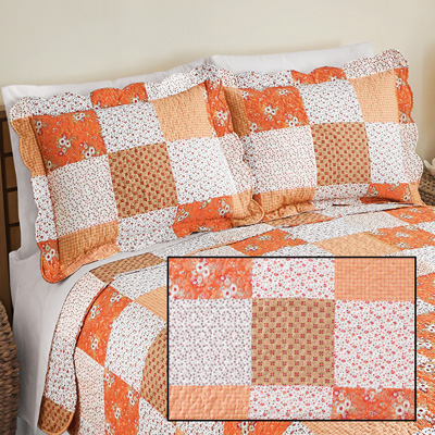 Amber Orange Floral Patchwork Pillow Sham