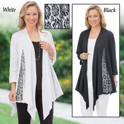 Lace Inset Knit Draped Open Front Cardigan
