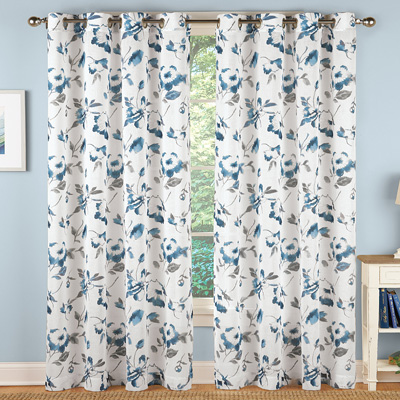 Watercolor Floral White Linen Curtain Panel