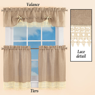 Burlap Lace Curtain Valance and Tiers