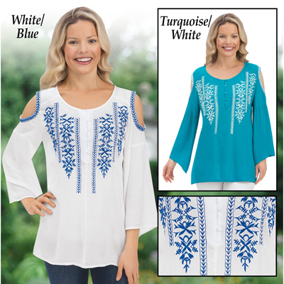 Embroidered Cold Shoulder Bell Sleeve Top