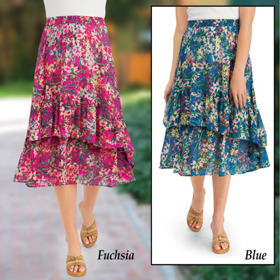 Tiered Ruffle Floral Print Woven Midi Skirt