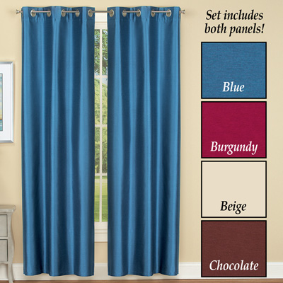 Insulated Faux Silk Curtain Panel Set of 2