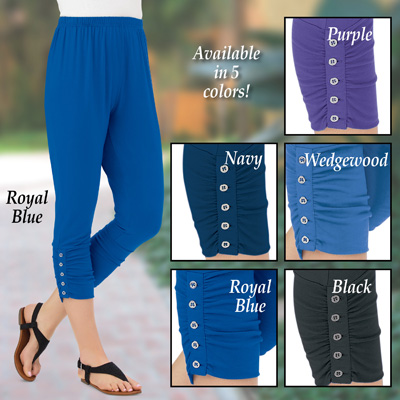 Button Accent Cinched Capri Leggings