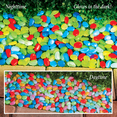 Multicolor Glow In Dark Garden Pebbles Decor