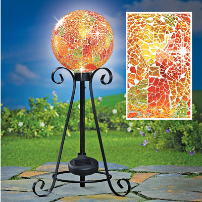 Solar Mosaic Glass Gazing Ball with Metal Stand