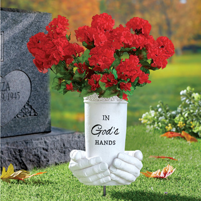 In God's Hands Memorial Flower Vase
