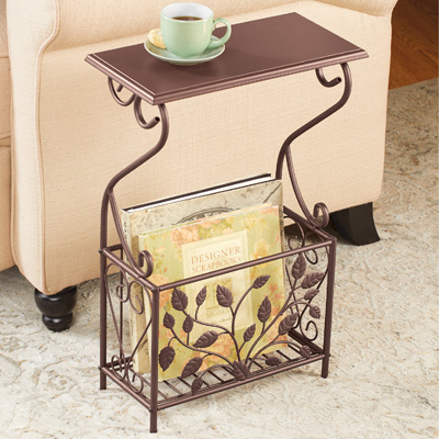 Leaves Iron and Wood Magazine Holder Side Table