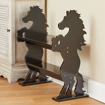 Wooden Horses Sitting Bench with Shelf Cabin Décor