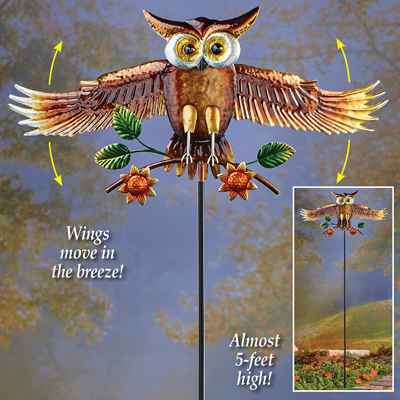 Animated Flying Owl Decorative Garden Stake