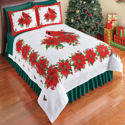 Cardinal Fleece Bed Coverlet Winter Bedding