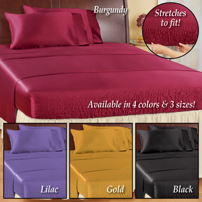 Bed Tite Satin Sheets Set, 4 Pc