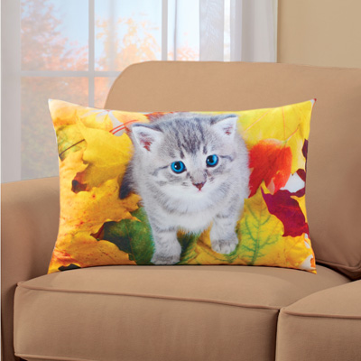 Rectangular Fall Pillow with Playful Cat in Leaves