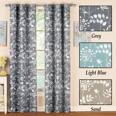 Fern Leaf and Floral Grommet Curtain Panel