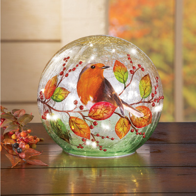 Lighted Robin Cracked Glass Ball with Fall Leaves