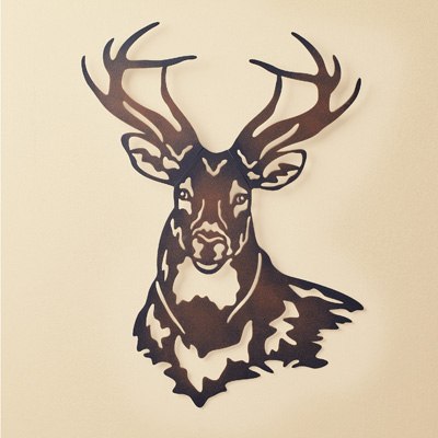 Deer Metal Wall Art Sculpture with Rustic Finish