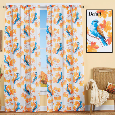Autumn Blue Bird Sheer Curtain Panel