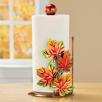 Fall Leaves Metal Paper Towel Holder Kitchen Decor
