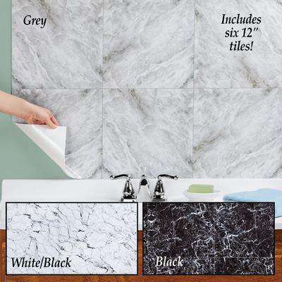 Peel and Stick Marble Wall Tiles, Set of 6