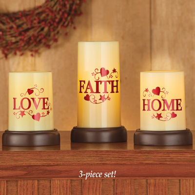 Set of 3 Country Home Flameless Pillar Candles