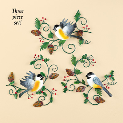 Chickadees and Pinecones Metal Wall Art Set, 3 pc