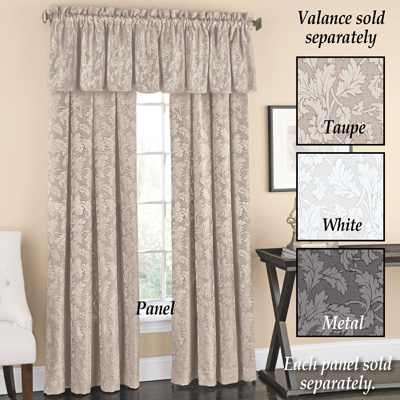 Floral Curtain Panel with Leaf Silhouette Pattern