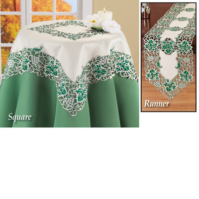 Grapevine Embroidered Green Leaves Table Topper