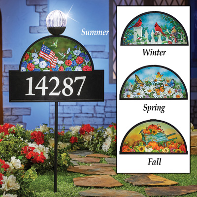 4 Seasons Decorative Address Sign with Solar Light