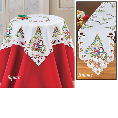 Snowman Couple Table Topper w/ Christmas Tree
