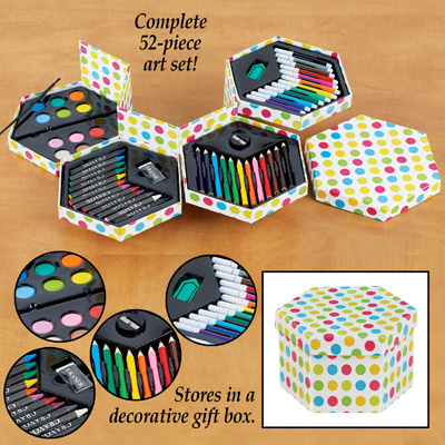 52 Piece Art Set in Fold Out Box / Case