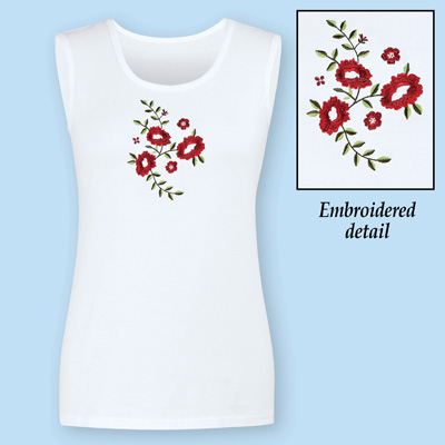 Floral Embroidered White Tank Top