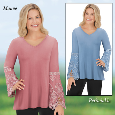 Jersey-Knit Lace & Crochet Bell Sleeved Tunic