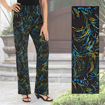 Printed Bootcut Knit Jersey Pants, Fun Print