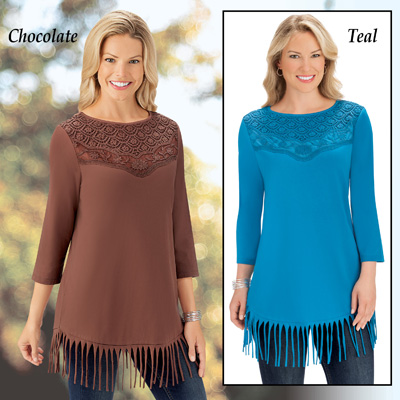 Fringe & Lace 3/4 Sleeve Top with Scoop Neckline