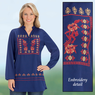 Aztec Inspired Embroidered Navy Woven Tunic Top