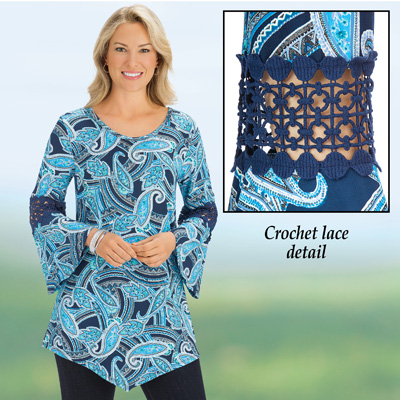 Blue Paisley Crochet Inset Bell Sleeve Tunic Top