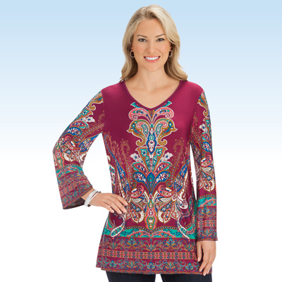 Medallion Print Burgundy Knit V-Neck Bell Sleeve Top