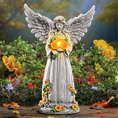 Solar Light Up Angel with Sunflowers Garden Statue