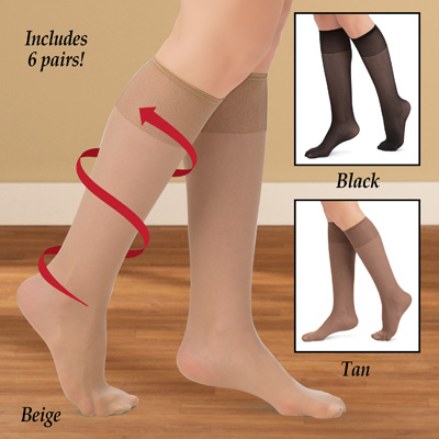 Non-Binding Non-Run Support Knee Hi Stocking, 6 Pack
