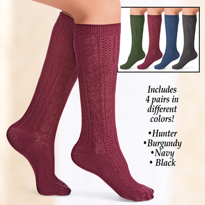 Cable Knit Knee High Socks Set of 4