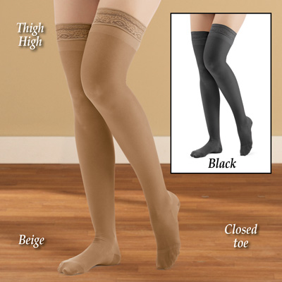 Thigh High Compression Stockings, Moderate, Closed Toe