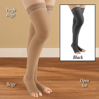 Thigh High Compression Stockings, Moderate, Open Toe