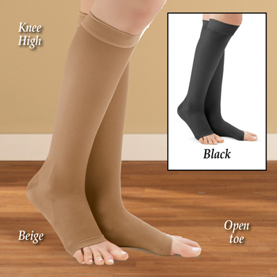 Knee High Compression Stockings, Firm, Open Toe
