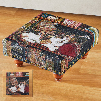 Library Cat Tapestry Footstool