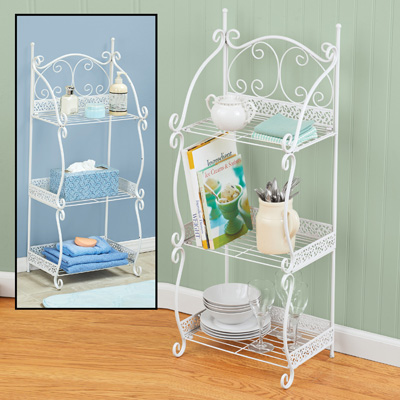 3-Tier Scrollwork Metal Shelf in White