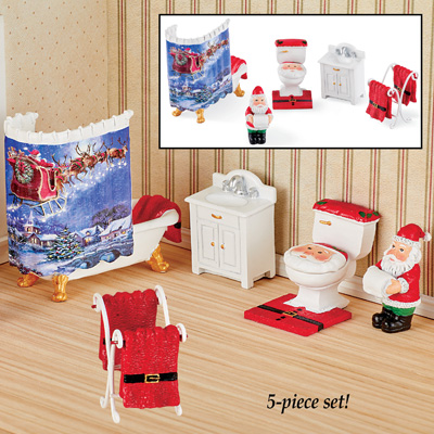 Hand-Painted Miniature Santa Bathroom Set