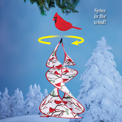 Outdoor Cardinal Wind Spinner with Winter Accents