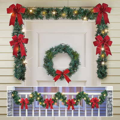 9ft Lighted Garland with Bows