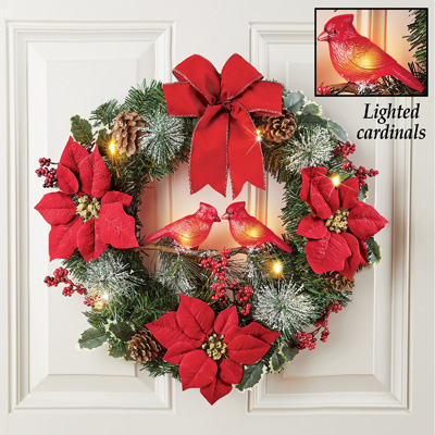 Winter Holiday Light Up Cardinals Couple Wreath